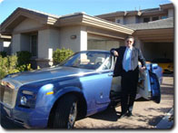 training business owners - Brad's blue car